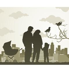 family walk vector image