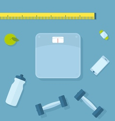 Fitness items vector image