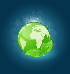 Global planet and eco green leaves vector image vector image