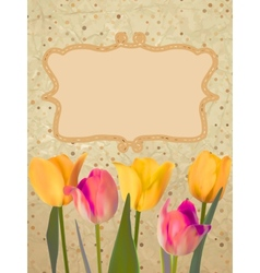 Paper with beautiful tulips with polka dot EPS 10 vector image vector image