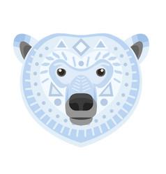 polar bear head logo white bear decorative vector image