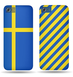 Rear covers smartphone with flags of Sweden vector image