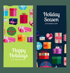 vertical banner templates with gift boxes vector image vector image