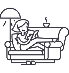 woman at home at sofa reading book with tea and vector image