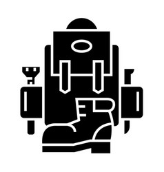 backpack - active travel - camping - boots icon vector image