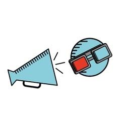 cartoon megaphone cinema movie icon vector image vector image