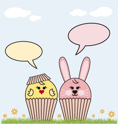 cupcake easter bunny and chicken vector image vector image