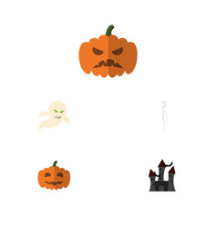 flat icon celebrate set of pumpkin fortress vector image