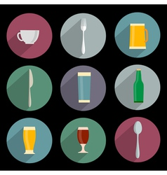 Flat Icons of kitchen objects vector image vector image