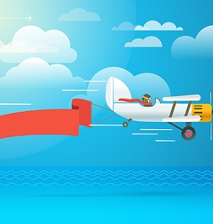 Flying vintage plane with the banner template for vector