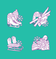 hand drawn winter sports equipment piles vector image