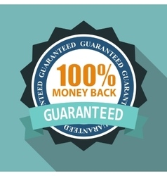 Label sign 100 money back quality in flat modern vector