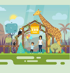 outdoor view on zoo entrance with animals vector image vector image