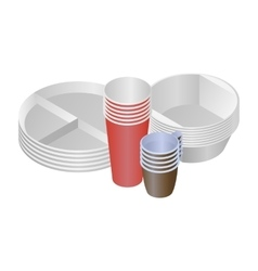 Plastic dishes and plates vector image