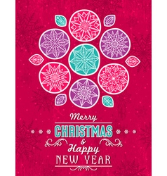 Red grunge Christmas card with snowflakes stars vector image vector image