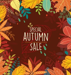Autumn special sale poster with leaves vector image vector image