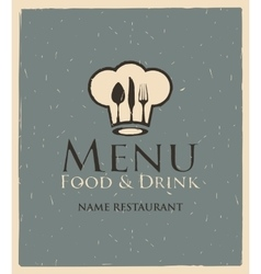 menu with toque and cutlery vector image vector image