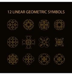set of 12 linear geometric symbols vector image vector image