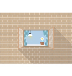 Window frame on brick background vector image