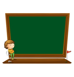 A blackboard with a boy playing golf vector image vector image