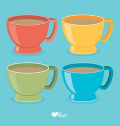 color tea cup set flat vector image vector image