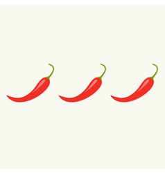 Hot Red Chili Jalapeno Pepper in a row Isolated vector image