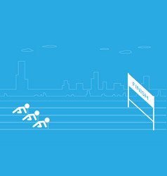running men on start position run to finish point vector image