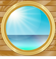 Ship Porthole with SeaScape View vector image