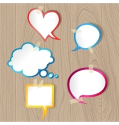 Speech bubbles on wood texture vector image