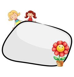 An empty template with two girls and a flower vector