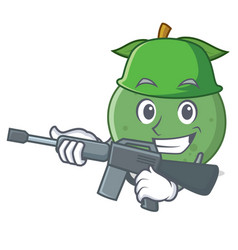 Army guava character cartoon style vector