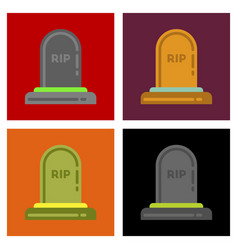 assembly flat icons halloween grave vector image