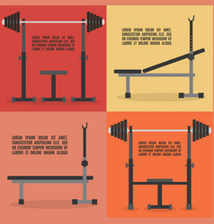 Barbell bench press in flat style vector