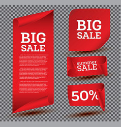 big sale banner set on transparent background vector image