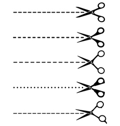 Big set of cutting scissors with cut lines vector
