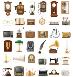 Big set of much objects retro old vintage icons vector