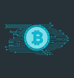 bitcon poster blue vector image