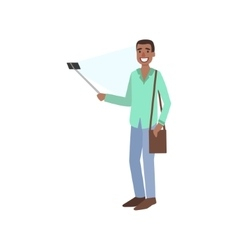 Black guy taking picture with selfie stick vector