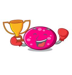 boxing winner ellipse mascot cartoon style vector image