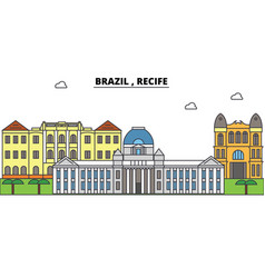 brazil recife outline skyline brazilian flat vector image