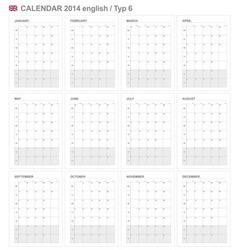 Calendar 2014 English Type 6 vector image