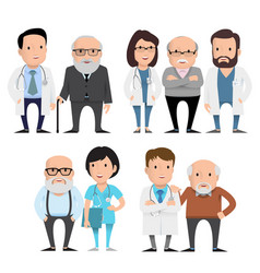 Characters doctors with elderly patients vector
