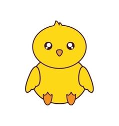Chicken kawaii cute animal icon vector