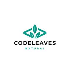 Code leaf leaves logo for web front back end vector