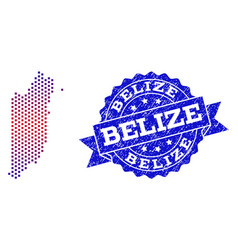 composition of gradiented dotted map of belize and vector image