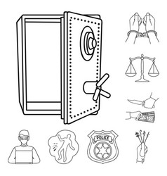 Crime and punishment outline icons in set vector
