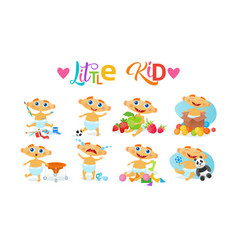 Cute baby boy set toddler happy cartoon infant in vector