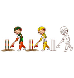 Doodle character for cricket players vector