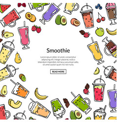 doodle colored smoothie drink background vector image