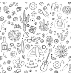 Doodles seamless pattern mexico vector
